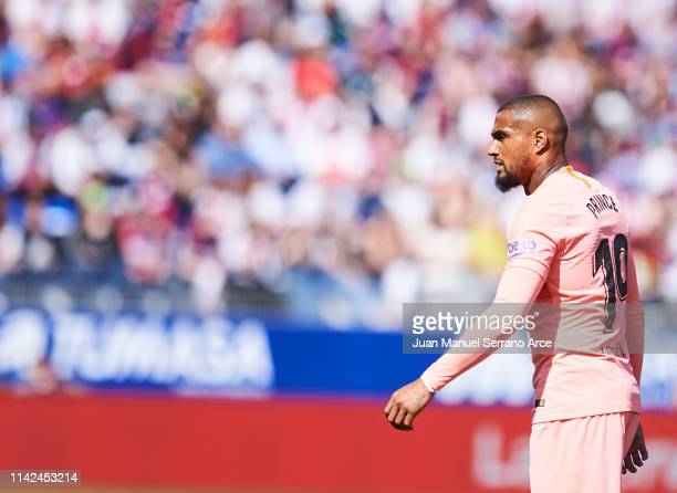 KevinPrince Boateng of FC Barcelona reacts during the La Liga match between SD Huesca and FC Barcelona at Estadio El Alcoraz on April 13 2019 in...