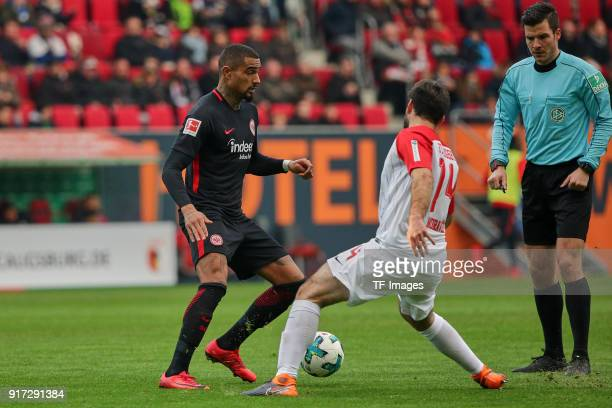 KevinPrince Boateng of Frankfurt and Jan Moravek of Augsburg battle for the ball during the Bundesliga match between FC Augsburg and Eintracht...