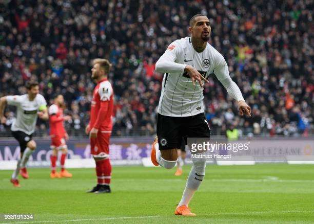 KevinPrince Boateng of Frankfurt celebrates after scoring his team's first goal during the Bundesliga match between Eintracht Frankfurt and 1 FSV...