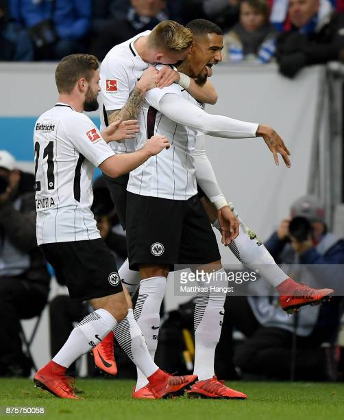KevinPrince Boateng of Frankfurt celebrates with his teammates after scoring his team's first goal during the Bundesliga match between TSG 1899...