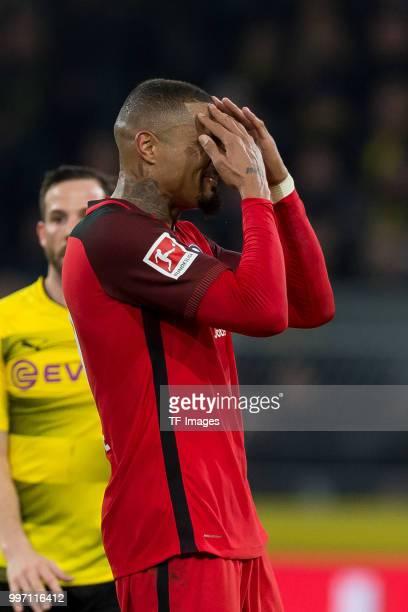 KevinPrince Boateng of Frankfurt gestures during the Bundesliga match between Borussia Dortmund and Eintracht Frankfurt at Signal Iduna Park on March...