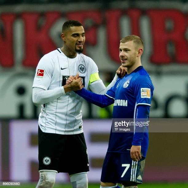 KevinPrince Boateng of Frankfurt shakes hands with Max Meyer of Schalke during the Bundesliga match between Eintracht Frankfurt and FC Schalke 04 at...