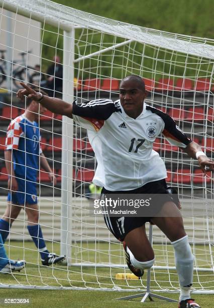Kevin-Prince Boateng of Germany celebrates after scoring during the European Under 19 Championships qualification match between Germanz vs Croatia...