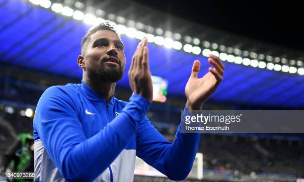 Kevin-Prince Boateng of Hertha Berlin celebrates after the Bundesliga match between Hertha BSC and SpVgg Greuther Fürth at Olympiastadion on...