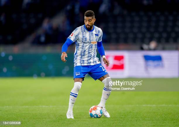 Kevin-Prince Boateng of Hertha in action during the Bundesliga match between Hertha BSC and SpVgg Greuther Fürth at Olympiastadion on September 17,...