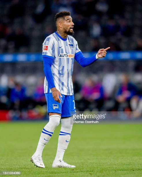 Kevin-Prince Boateng of Hertha reacts during the Bundesliga match between Hertha BSC and SpVgg Greuther Fürth at Olympiastadion on September 17, 2021...