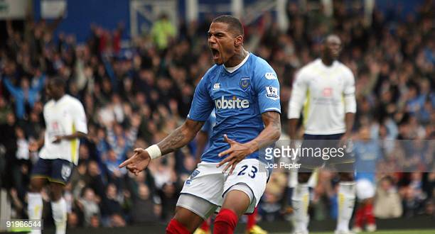 Kevin-Prince Boateng of Portsmouth celebrates his first goial during the Barclays Premier League match between Portsmouth and Tottenham Hotspur at...