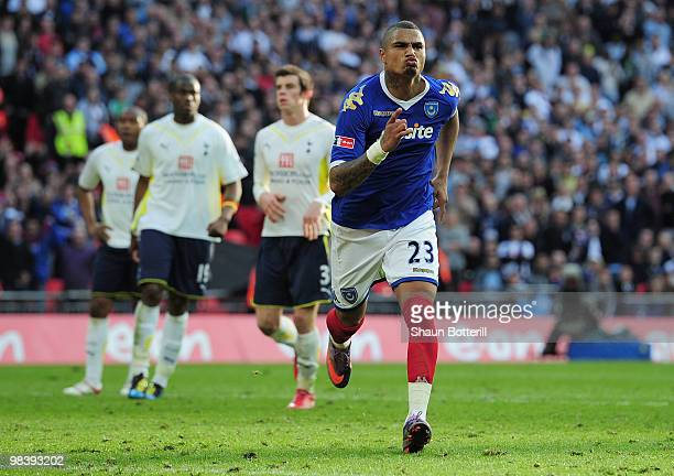 Kevin-Prince Boateng of Portsmouth celebrates the second goal during the FA Cup sponsored by E.ON Semi Final match between Tottenham Hotspur and...