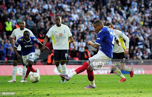 KevinPrince Boateng of Portsmouth scores from the penalty spot during the FA Cup sponsored by EON Semi Final match between Tottenham Hotspur and...