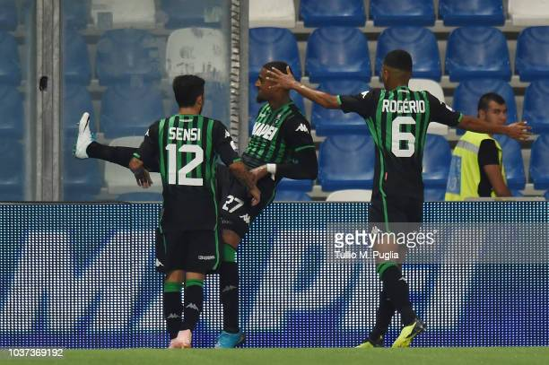 KevinPrince Boateng of Sassuolo celebrates after scoring the equalizing goal during the serie A match between US Sassuolo and Empoli at Mapei Stadium...