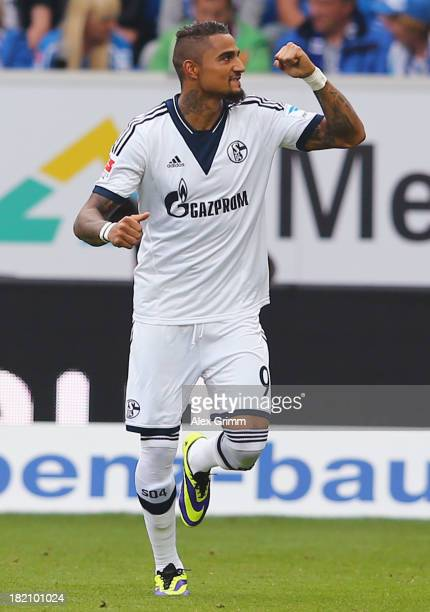 KevinPrince Boateng of Schalke celebrates his team's first goal during the Bundesliga match between 1899 Hoffenheim and FC Schalke 04 on September 28...