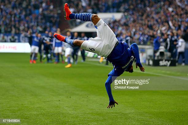 Kevin-Prince Boateng of Schalke celebrates the third and winning goal during the Bundesliga match between FC Schalke 04 and VfB Stuttgart at Veltins...