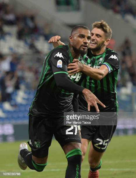 KevinPrince Boateng of US Sassuolo celebrates his first goal with Domenico Berardi of US Sassuolo during the serie A match between US Sassuolo and...