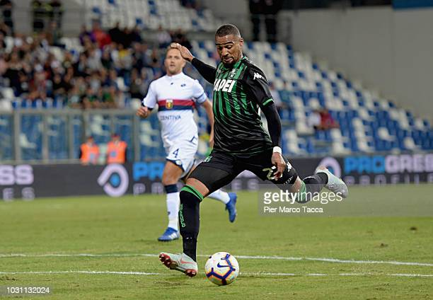 KevinPrince Boateng of US Sassuolo kicks the ball into the goal during the serie A match between US Sassuolo and Genoa CFC at Mapei Stadium Citta'...