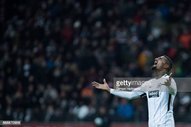 KevinPrince Boateng reacts during the Bundesliga match between Eintracht Frankfurt and FC Bayern Muenchen at CommerzbankArena on December 9 2017 in...