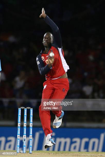 Kevon Cooper of The Red Steel bowls during a match between The Trinidad and Tobago Red Steel and Guyana Amazon Warriors as part of the week 3 of...