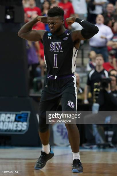 Kevon Harris of the Stephen F Austin Lumberjacks celebrates against the Texas Tech Red Raiders in the first half in the first round of the 2018 NCAA...