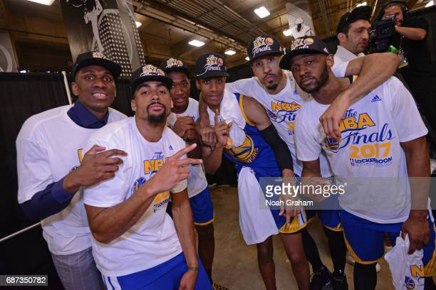 Kevon Looney James Michael McAdoo Damian Jones Patrick McCaw Shaun Livingston and Ian Clark of the Golden State Warriors pose for a photo after...