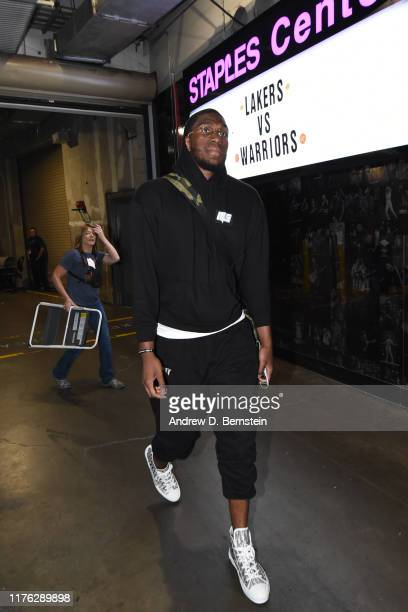 Kevon Looney of the Golden State Warriors arrives before a preseason game against the Los Angeles Lakers on October 16 2019 at STAPLES Center in Los...