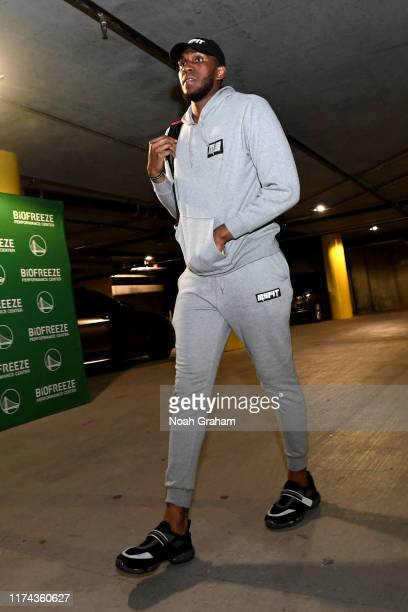 Kevon Looney of the Golden State Warriors arrives for a game against the Los Angeles during a game on October 5 2019 at Chase Center in San Francisco...