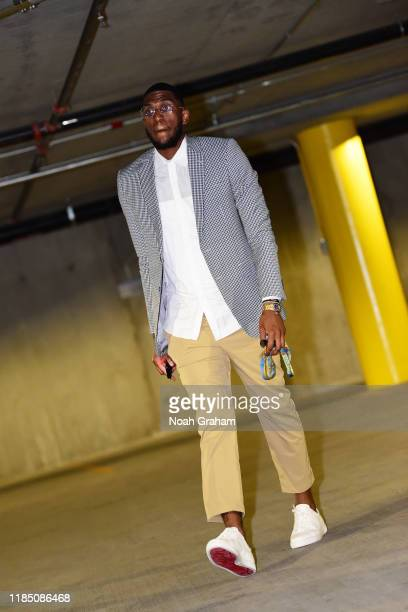 Kevon Looney of the Golden State Warriors arrives prior to a game against the Chicago Bulls on November 27 2019 at Chase Center in San Francisco...