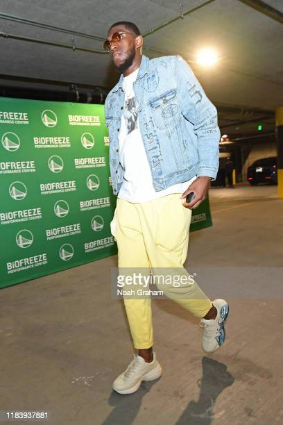 Kevon Looney of the Golden State Warriors arrives to the arena before the game against the LA Clippers on October 24 2019 at Chase Center in San...