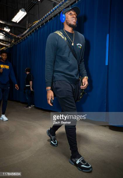 Kevon Looney of the Golden State Warriors arrives to the game against the Oklahoma City Thunder on October 27 2019 at Chesapeake Energy Arena in...