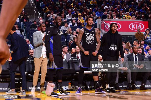 Kevon Looney of the Golden State Warriors Draymond Green of the Golden State Warriors Marquese Chriss of the Golden State Warriors and D'Angelo...