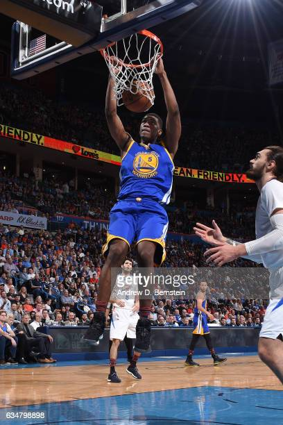 Kevon Looney of the Golden State Warriors dunks against the Oklahoma City Thunder on February 11 2017 at Chesapeake Energy Arena in Oklahoma City...