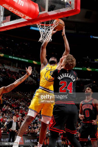 Kevon Looney of the Golden State Warriors dunks the ball against the Chicago Bulls on December 6 2019 at United Center in Chicago Illinois NOTE TO...