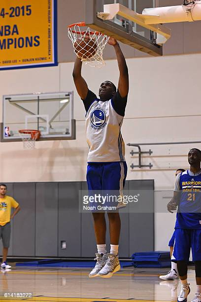 Kevon Looney of the Golden State Warriors dunks the ball during practice on October 8 2016 at the Warriors Practice Facility in Oakland California...