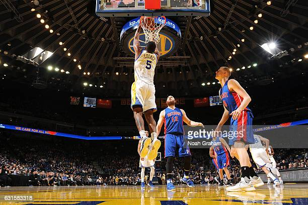 Kevon Looney of the Golden State Warriors dunks the ball during the game against the Detroit Pistons on January 12 2017 at ORACLE Arena in Oakland...