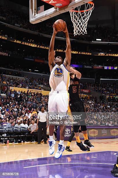 Kevon Looney of the Golden State Warriors goes up for a dunk against the Los Angeles Lakers on November 25 2016 at STAPLES Center in Los Angeles...