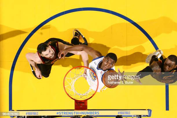 Kevon Looney of the Golden State Warriors goes up for a rebound against the Cleveland Cavaliers in Game One of the 2018 NBA Finals on May 31 2018 at...