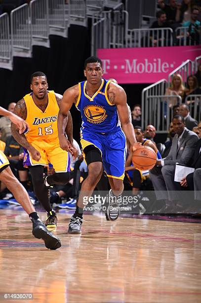 Kevon Looney of the Golden State Warriors handles the ball against the Los Angeles Lakers during a preseason game on October 15 2016 at the TMobile...