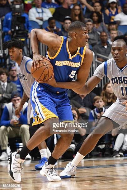 Kevon Looney of the Golden State Warriors handles the ball against the Orlando Magic on January 22 2017 at Amway Center in Orlando Florida NOTE TO...