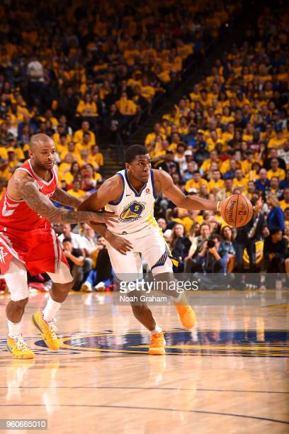 Kevon Looney of the Golden State Warriors handles the ball against the Houston Rockets in Game Three of the Western Conference Finals of the 2018 NBA...
