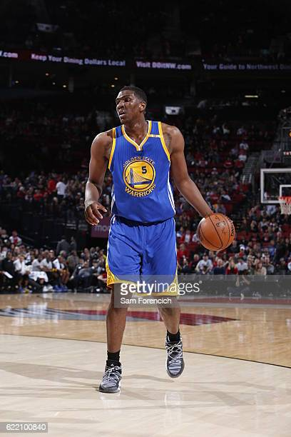 Kevon Looney of the Golden State Warriors handles the ball during the game against the Portland Trail Blazers on November 1 2016 at the Moda Center...