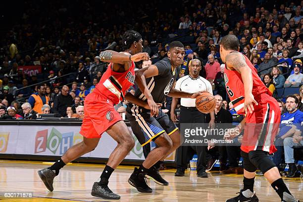 Kevon Looney of the Golden State Warriors handles the ball during the game against the Portland Trail Blazers on December 17 2016 in Oakland...
