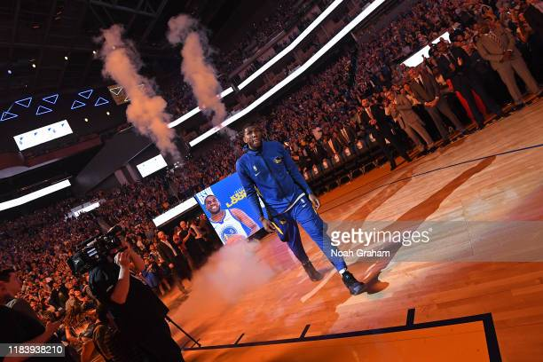 Kevon Looney of the Golden State Warriors is introduced to the fans before the game against the LA Clippers on October 24 2019 at Chase Center in San...
