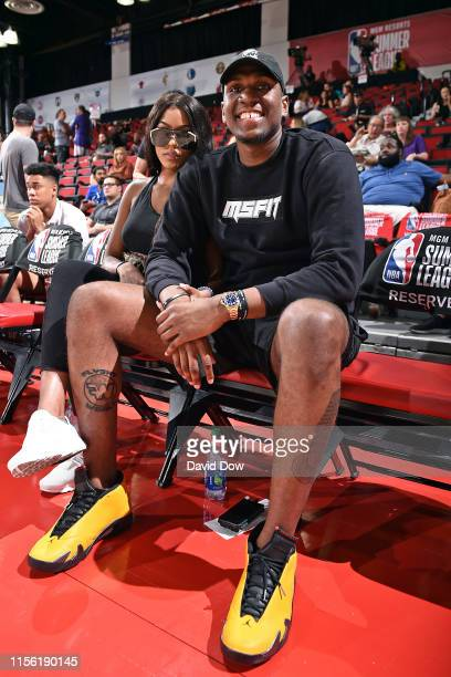 Kevon Looney of the Golden State Warriors looks on during the game against the Charlotte Hornets during Day 1 of the 2019 Las Vegas Summer League on...