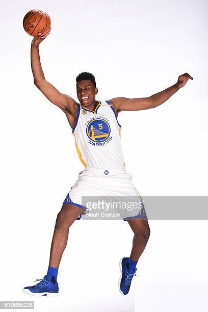Kevon Looney of the Golden State Warriors poses for a portrait during NBA Media Day at Oracle Arena in Oakland California on September 26 2016 NOTE...