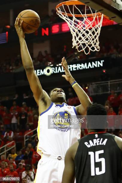 Kevon Looney of the Golden State Warriors shoots against Clint Capela of the Houston Rockets in the third quarter of Game Seven of the Western...