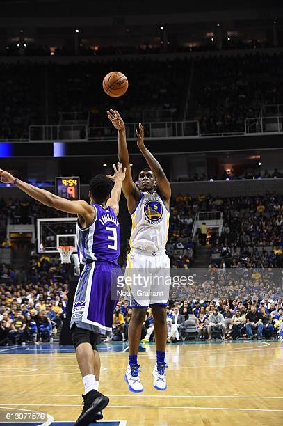 Kevon Looney of the Golden State Warriors shoots against Skal Labissiere of the Sacramento Kings on October 6 2016 at SAP Center in San Jose...