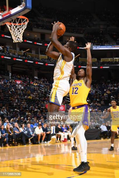Kevon Looney of the Golden State Warriors shoots the ball against the Los Angeles Lakers during the preseason on October 5 2019 at Chase Center in...