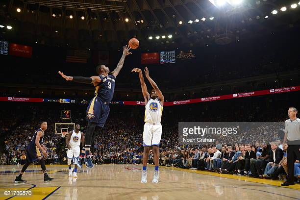 Kevon Looney of the Golden State Warriors shoots the ball against the New Orleans Pelicans on November 7 2016 at ORACLE Arena in Oakland California...
