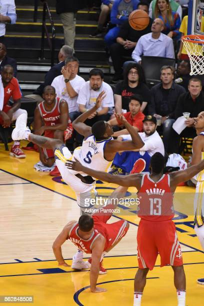 Kevon Looney of the Golden State Warriors shoots the ball against the Houston Rockets on October 17 2017 at ORACLE Arena in Oakland California NOTE...