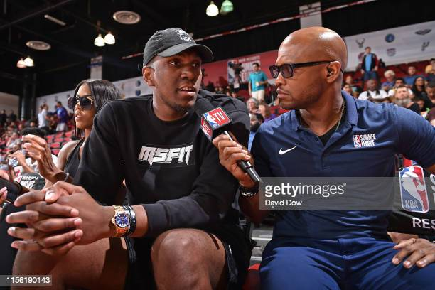 Kevon Looney of the Golden State Warriors talks to NBA reporter Ro Parrish during the game against the Charlotte Hornets during Day 1 of the 2019 Las...