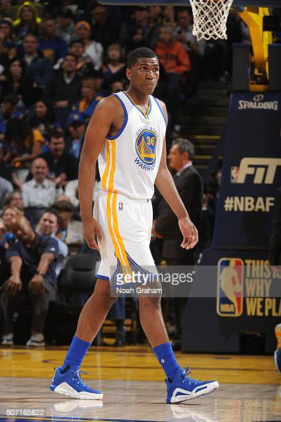 Kevon Looney of the Golden State Warriors while facing the Dallas Mavericks on January 27 2016 at Oracle Arena in Oakland California NOTE TO USER...
