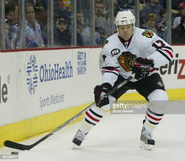Kevyn Adams of the Chicago Blackhawks skates against the Columbus Blue Jackets on March 26 2008 at the Nationwide Arena in Columbus Ohio The Blue...